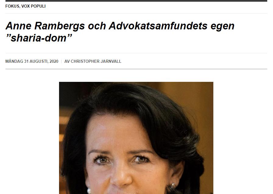 """Vox Populi: """"Anne Rambergs och Advokatsamfundets egen 'sharia-dom'"""""""