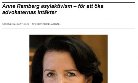"""Vox Populi: """"Anne Ramberg asylaktivism – för att öka advokaternas intäkter"""""""